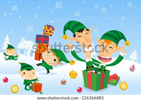 Santa�´s elves working at the north pole - stock vector