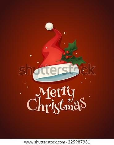Santa's hat. Christmas card \ poster \ banner. Vector illustration. - stock vector