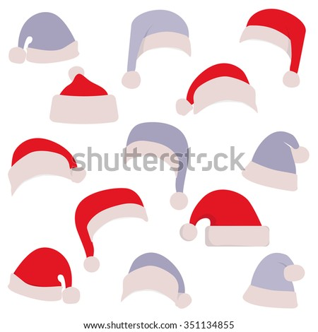 Santa's hat for girls and for boys. White and blue hats for holidays. Merry Christmas. - stock vector