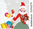 Santa's helper - beautiful young lady with baubles and teddy bear - Christmas background ( for high res JPEG or TIFF see image 2356431 )  - stock vector