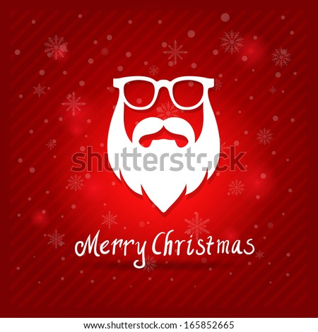 Santa's Mustaches, beard, sunglasses vector illustration. Christmas card  - stock vector