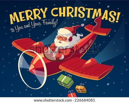 Santa's plane. Christmas card \ poster \ banner. Vector illustration. - stock vector