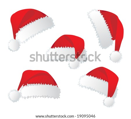Santa's red hat. Vector illustration - stock vector