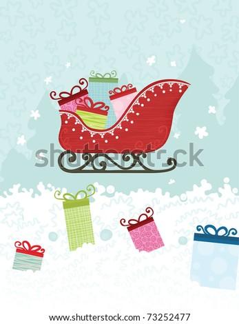 Santa's sled over winter scene - stock vector