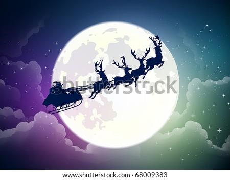 Santa's sleigh - stock vector
