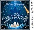 Santa's Sleigh, illustration card on blue background - stock vector
