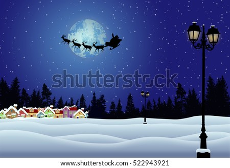 Santa's sleigh in front of full moon in beautiful snowy landscape on blue night, vector illustration