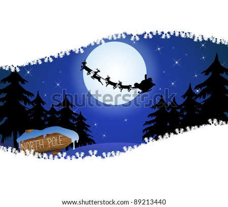 Santa's sleigh in front of the moon and wood sign with North Poland space for your text, vector illustration - stock vector