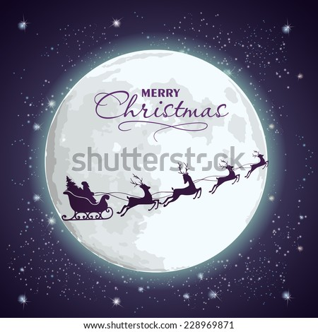 Santa's sleigh on a background of the full moon and a starry sky. - stock vector