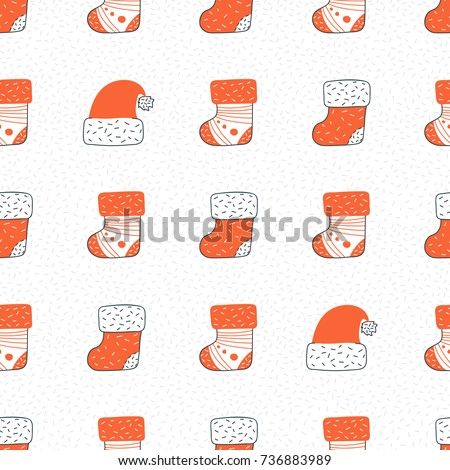 Santa's sock seamless pattern vector illustration