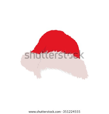 Santa's warm hat with pile for girls and for boys. White and Blue hats. Vector illustration.