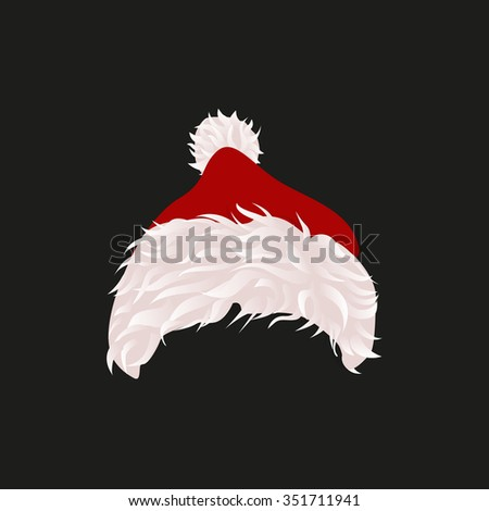 Santa's warm hat with pile for girls and for boys. White and Blue hats. Vector illustration. - stock vector