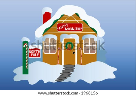 Santa's workshop at the north pole, over gradient blue background. - stock vector