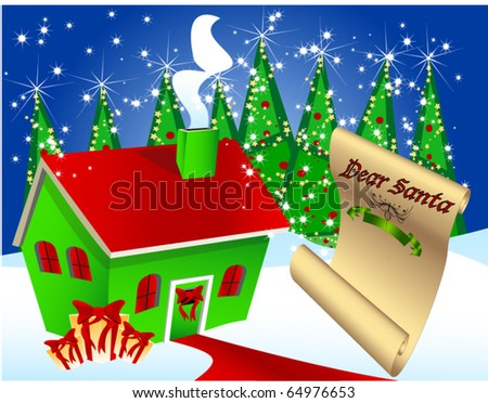 Santa's workshop with letter to Santa, lots of Christmas themed elements, easy to edit - stock vector