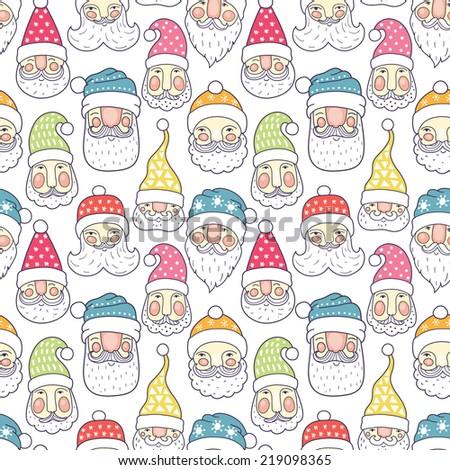 Santa seamless pattern - stock vector