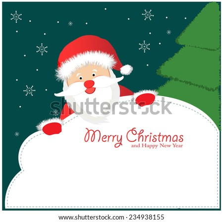 Santa Sign: Santa Claus, holding a blank sign. - stock vector