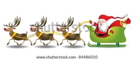 Santa sleigh - stock vector