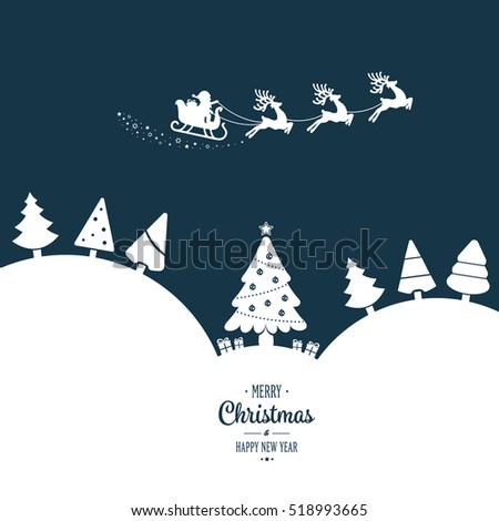 santa sleigh flying  winter white landscape