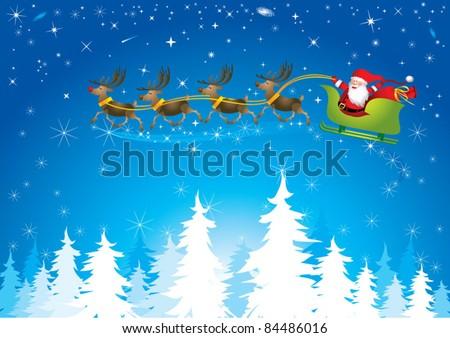Santa sleigh in night sky - stock vector