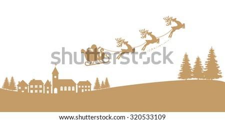 santa sleigh reindeer flying gold silhouette - stock vector