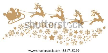 santa sleigh reindeer flying snowflakes gold silhouette - stock vector