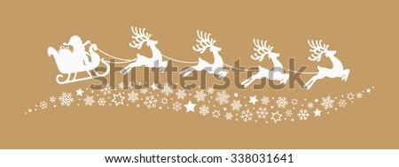 santa sleigh reindeer flying snowflakes stars gold background - stock vector