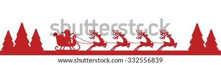 santa sleigh reindeer red landscape silhouette - stock vector
