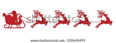 santa sleigh reindeer red silhouette - stock vector
