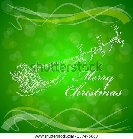 Santa Sleigh Reindeer Three Textured Green Stock Vector ...