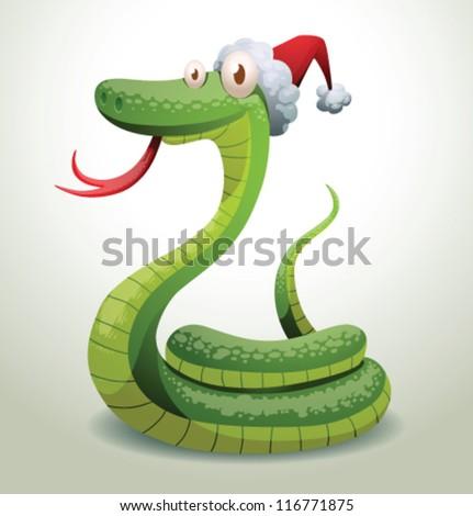 Santa snake 10, vector - stock vector