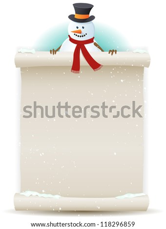 Santa Snowman Background/ Illustration of a cartoon Santa snowman character holding white parchment sign for christmas and winter holidays or children gift list - stock vector