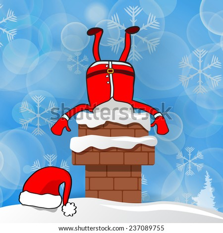 Santa stuck in chimney on a blue snow winter background - stock vector