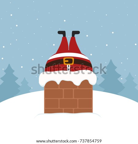 santa stuck in chimney winter snowy landscape