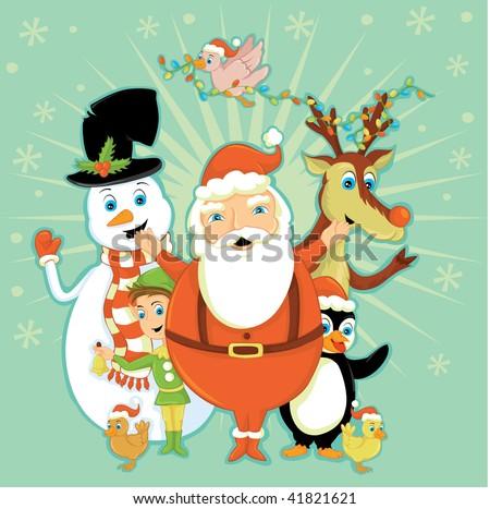 Santa Team - stock vector