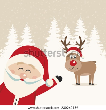 santa wave from side reindeer red nose winter landscape - stock vector