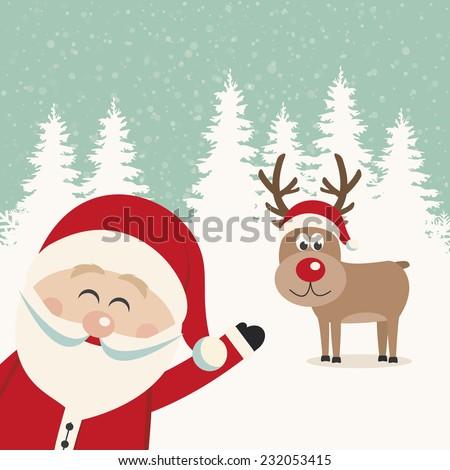 santa wave from side reindeer red nose winter landscape - stock vector