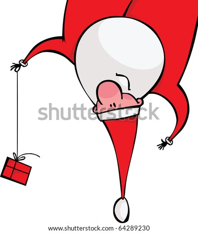 Santa with a gift hanging upside down - stock vector