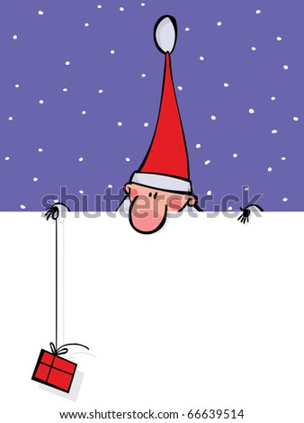 Santa with a gift looks out over the blank banner - stock vector