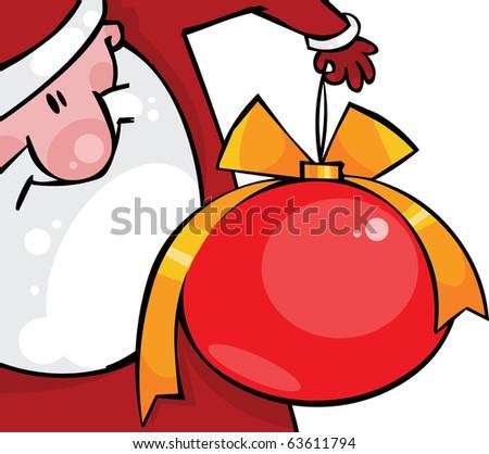 Santa with a huge Christmas ball - stock vector