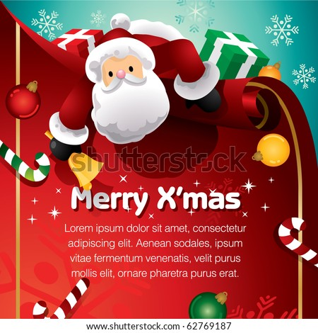 Santa with present - stock vector