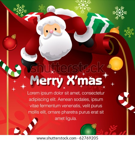 Santa with present template - stock vector