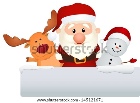 santa with reindeer and snowman - stock vector
