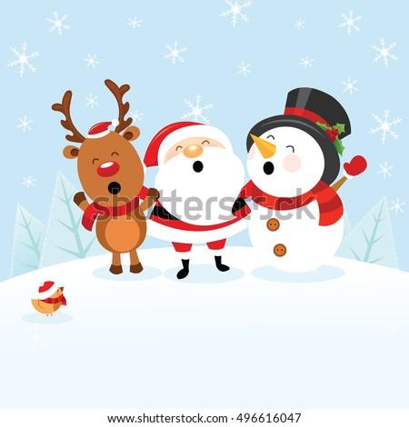 santa snowman reindeer stock vector 496616047 shutterstock - Snowman Santa