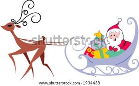 Santa with the presents - stock vector