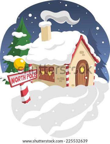 Santas house in the north pole vector cartoon illustration - stock vector