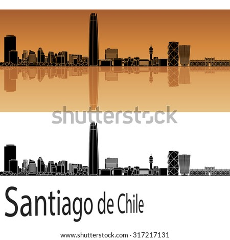 Santiago de Chile skyline in orange background in editable vector file - stock vector