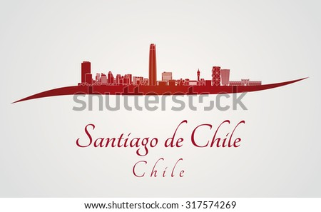 Santiago de Chile skyline in red and gray background in editable vector file - stock vector