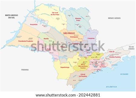 sao paulo administrative map - stock vector