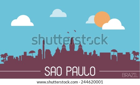 Sao Paulo Brazil skyline silhouette flat design vector illustration - stock vector