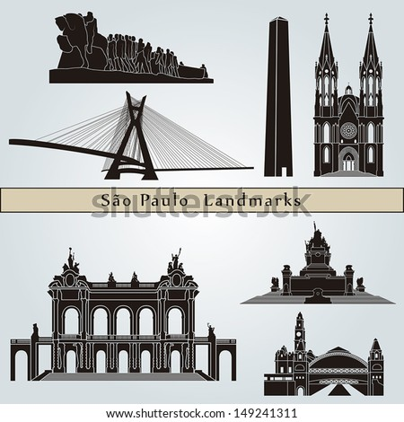 Sao Paulo landmarks and monuments isolated on blue background in editable vector file - stock vector